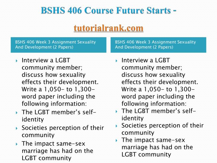 BSHS 406 Course Future Starts