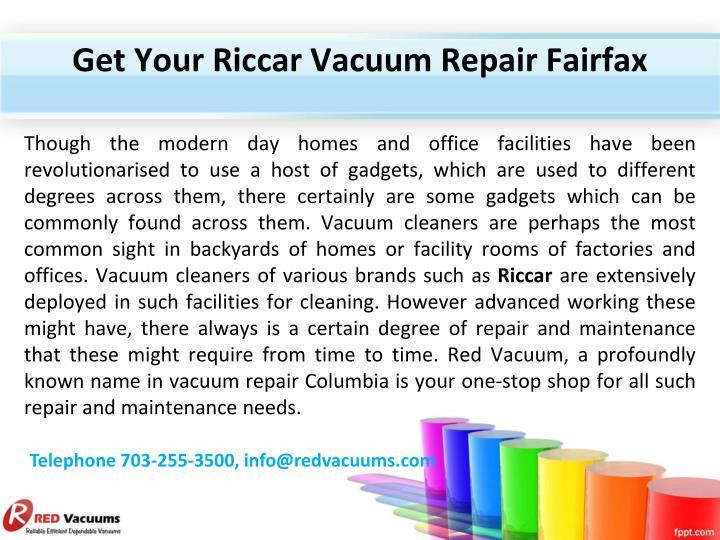 Get Your Riccar Vacuum Repair Fairfax