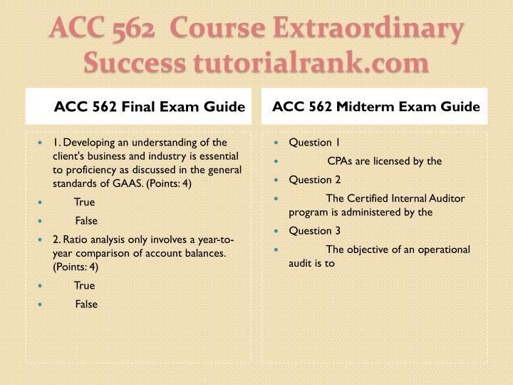 Acc 562 course extraordinary success tutorialrank com1