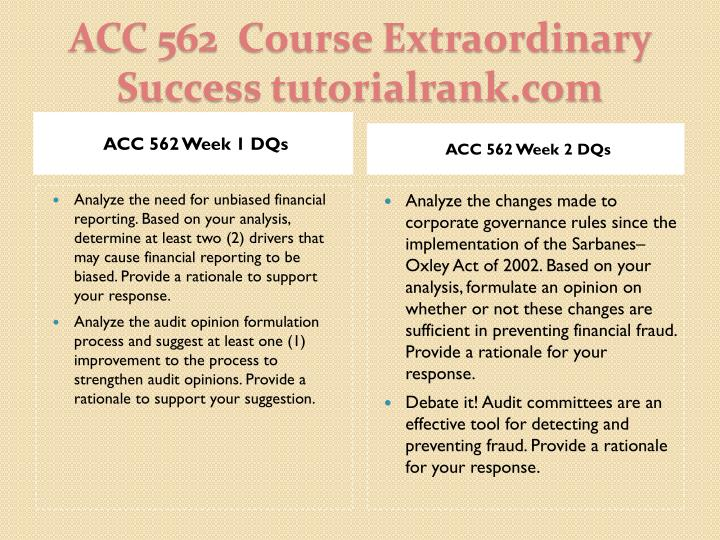 Acc 562 course extraordinary success tutorialrank com2