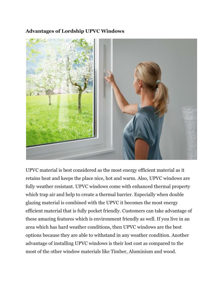 Advantages of Lordship UPVC Windows