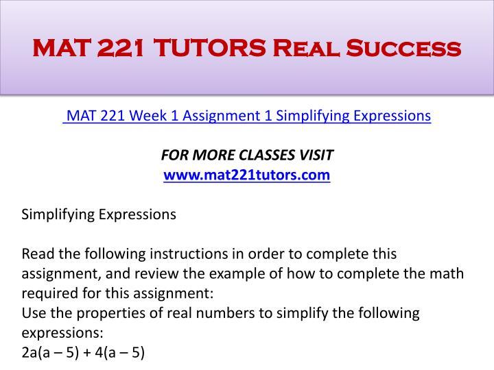 MAT 221 Seek Your Dream/Uophelp.Com