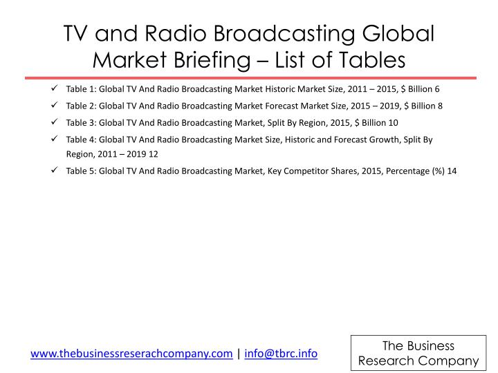 TV and Radio Broadcasting Global Market Briefing – List of Tables