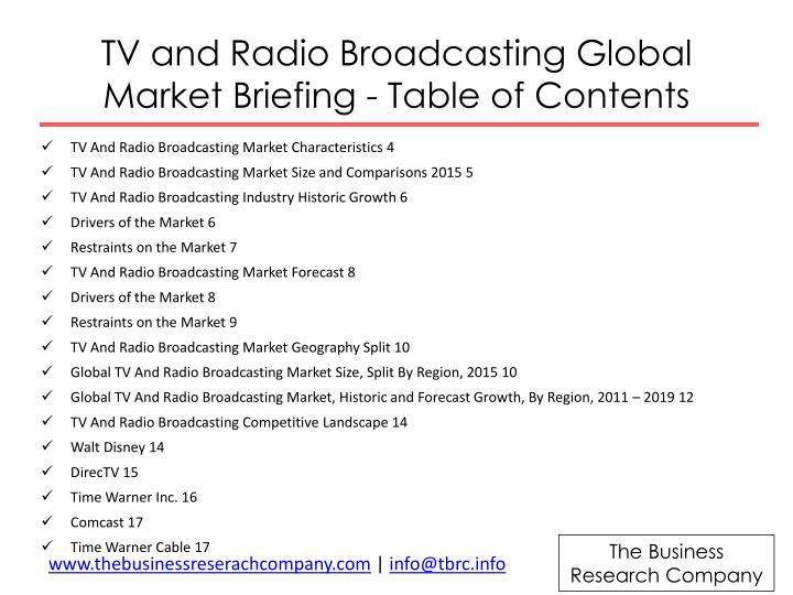 TV and Radio Broadcasting Global Market Briefing