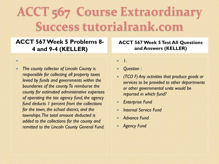 ACCT 567 Week 5 Problems 8-4 and 9-4 (KELLER)
