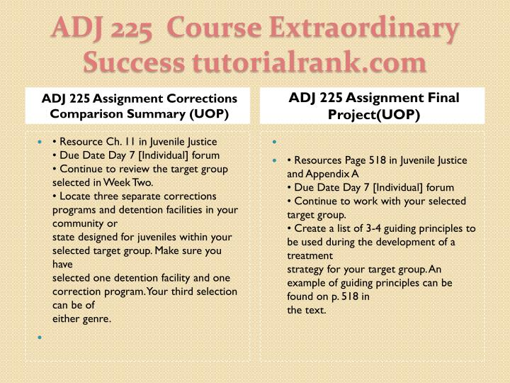 ADJ 225 Assignment Corrections Comparison Summary (UOP)