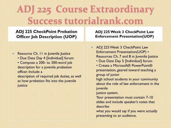 ADJ 225 CheckPoint Probation Officer Job Description (UOP)
