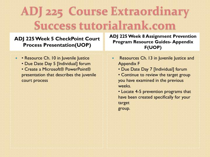 ADJ 225 Week 5 CheckPoint Court Process Presentation(UOP)