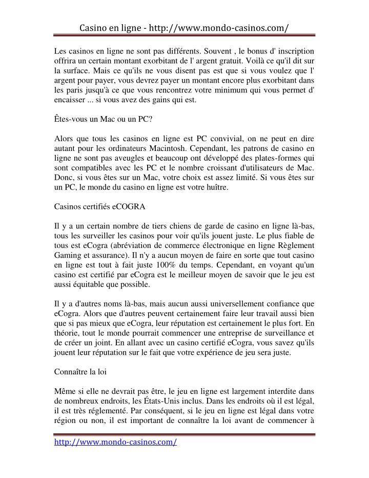 Casino en ligne - http://www.mondo-casinos.com/