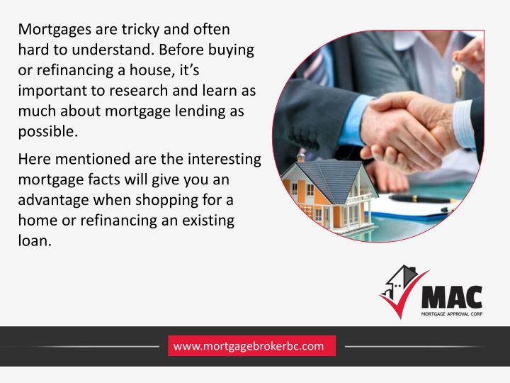 Mortgages are tricky and often hard to understand. Before buying or refinancing a house, it's important to research and learn as much about mortgage lending as possible.