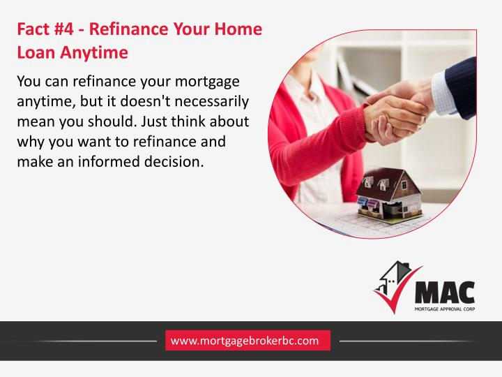 Fact #4 - Refinance Your Home Loan Anytime