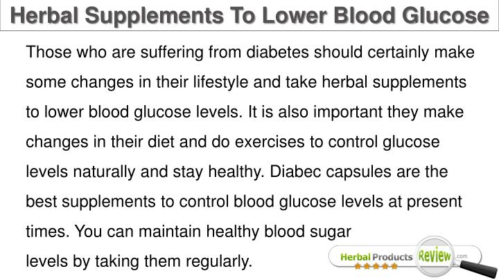 Herbal Supplements To Lower Blood Glucose