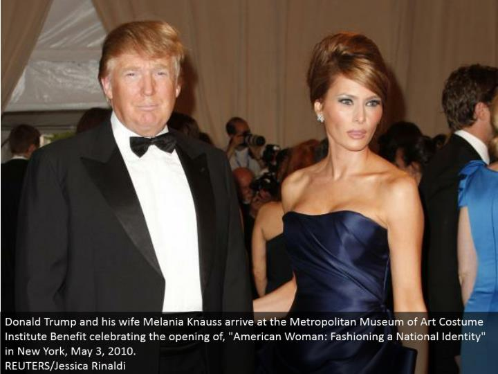 "Donald Trump and his significant other Melania Knauss land at the Metropolitan Museum of Art Costume Institute Benefit praising the opening of, ""American Woman: Fashioning a National Identity"" in New York, May 3, 2010. REUTERS/Jessica Rinaldi"