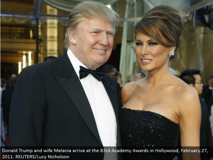 Donald Trump and spouse Melania land at the 83rd Academy Awards in Hollywood, February 27, 2011. REUTERS/Lucy Nicholson