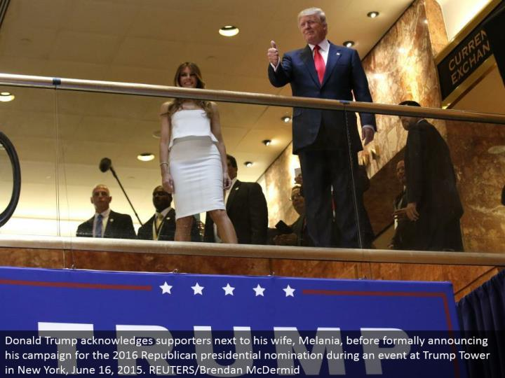 Donald Trump recognizes supporters alongside his better half, Melania, before formally declaring his crusade for the 2016 Republican presidential selection amid an occasion at Trump Tower in New York, June 16, 2015. REUTERS/Brendan McDermid