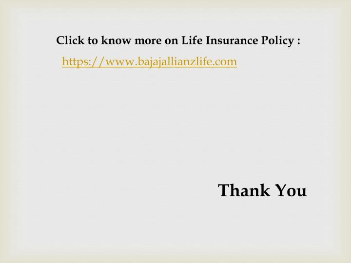 Click to know more on Life Insurance