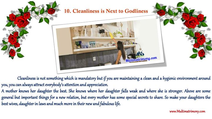 10. Cleanliness