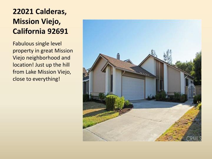 22021 Calderas, Mission Viejo, California 92691