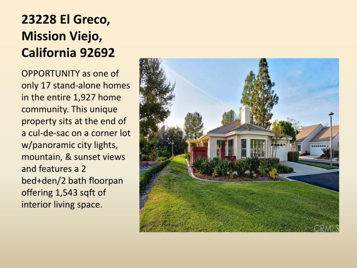 23228 El Greco, Mission Viejo, California 92692