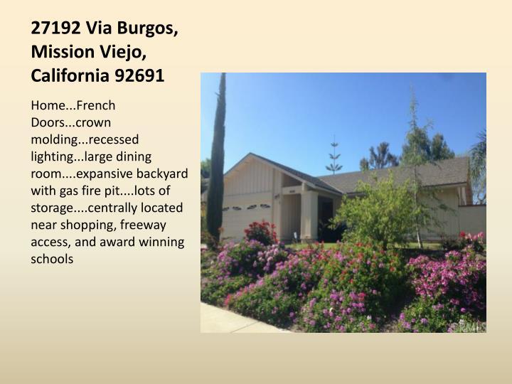 27192 Via Burgos, Mission Viejo, California 92691