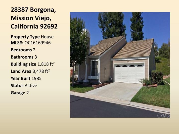 28387 Borgona, Mission Viejo, California 92692