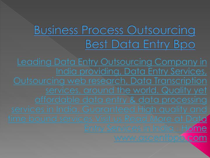 Business Process Outsourcing Best Data Entry