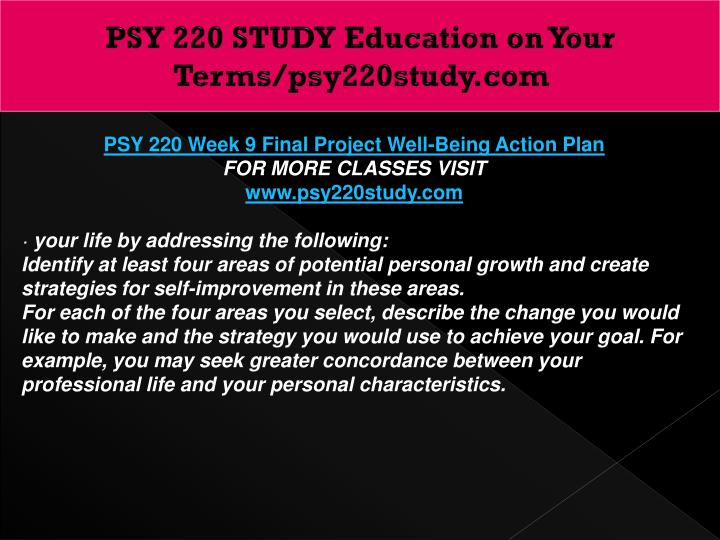PSY 220 STUDY Education on Your Terms/psy220study.com