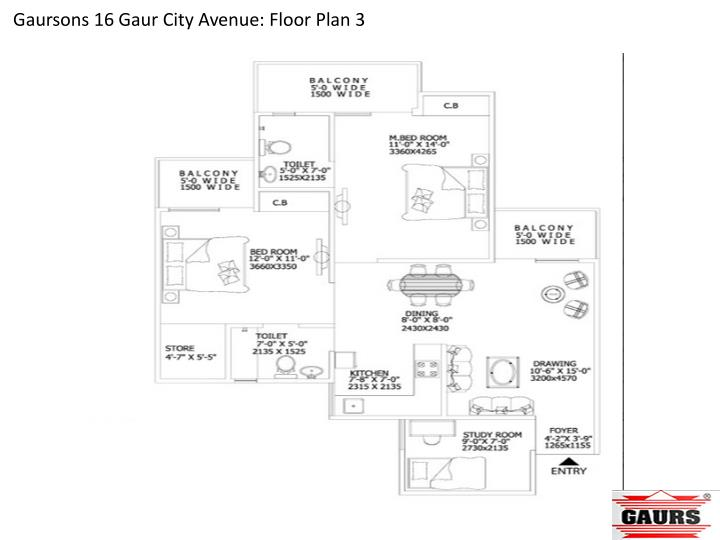 Gaursons 16 Gaur City Avenue: Floor Plan 3