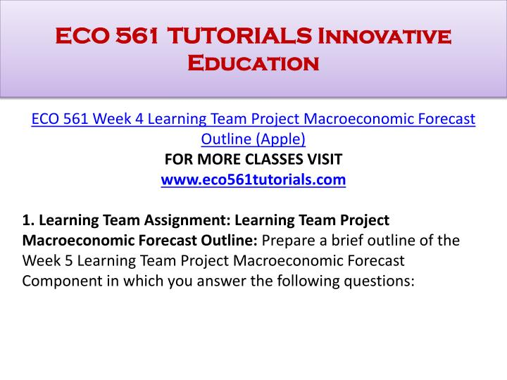 ECO 561 TUTORIALS Innovative Education