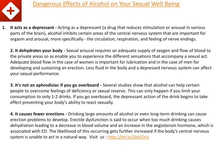Dangerous effects of alcohol on your sexual well being