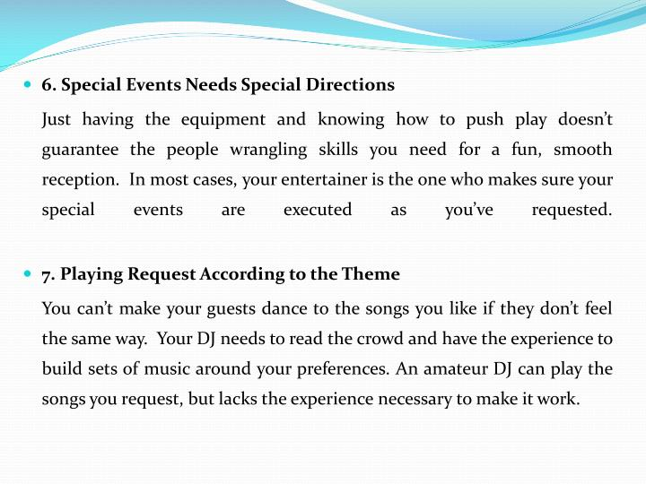 6. Special Events Needs Special Directions
