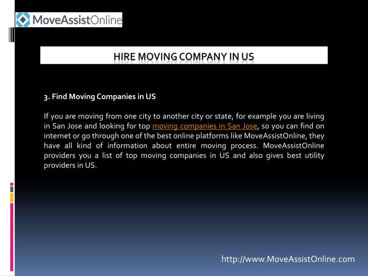 3. Find Moving Companies in