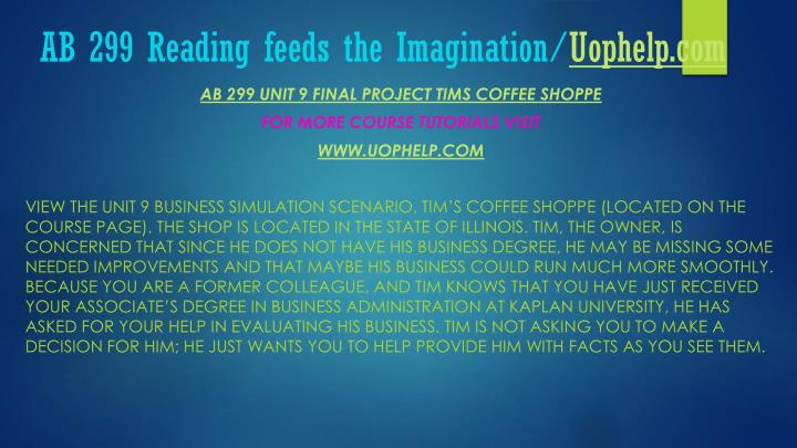 AB 299 Reading feeds the Imagination/