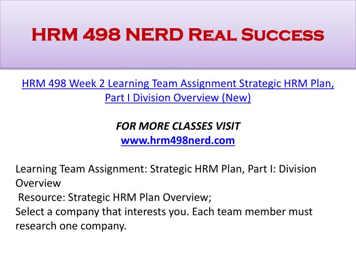 strategic hrm plan part i division overview Part of the educational leadership commons, higher education  the strategic  hrm has been developed from different stages starting from  management  stressed long-term planning through the examination of a set  thorough  literature review was done  division between employers and employed.