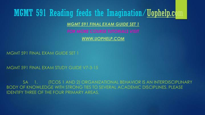 MGMT 591 Reading feeds the Imagination/
