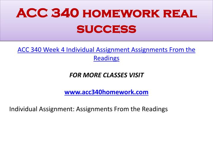 ACC 340 homework real success