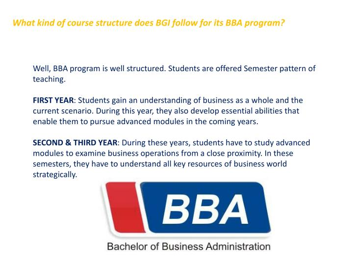 What kind of course structure does BGI follow for its BBA program?