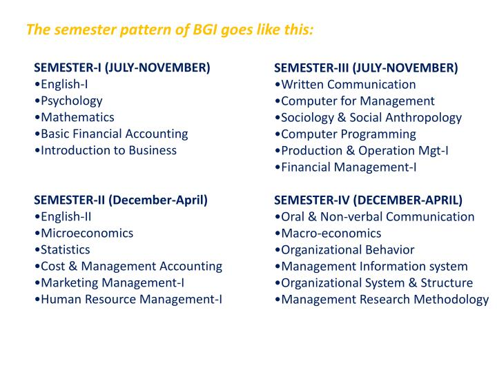 The semester pattern of BGI goes like this: