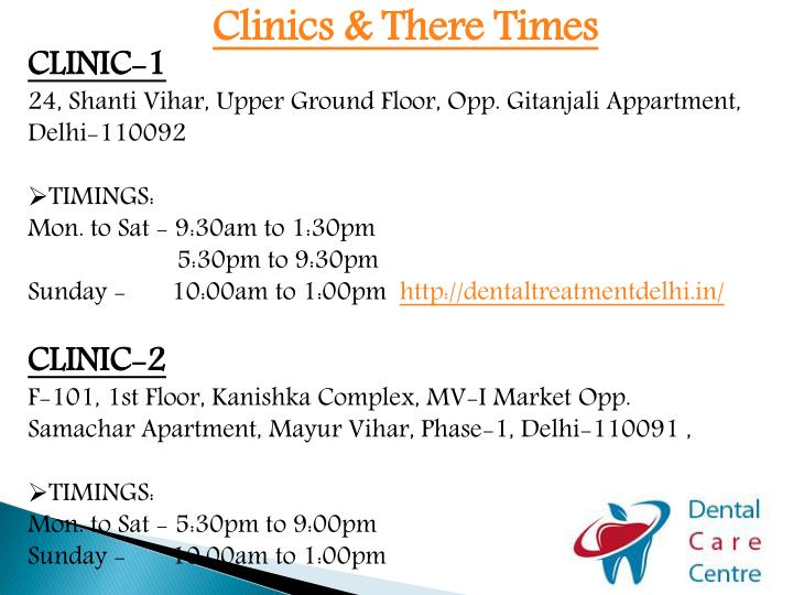 Clinics & There Times