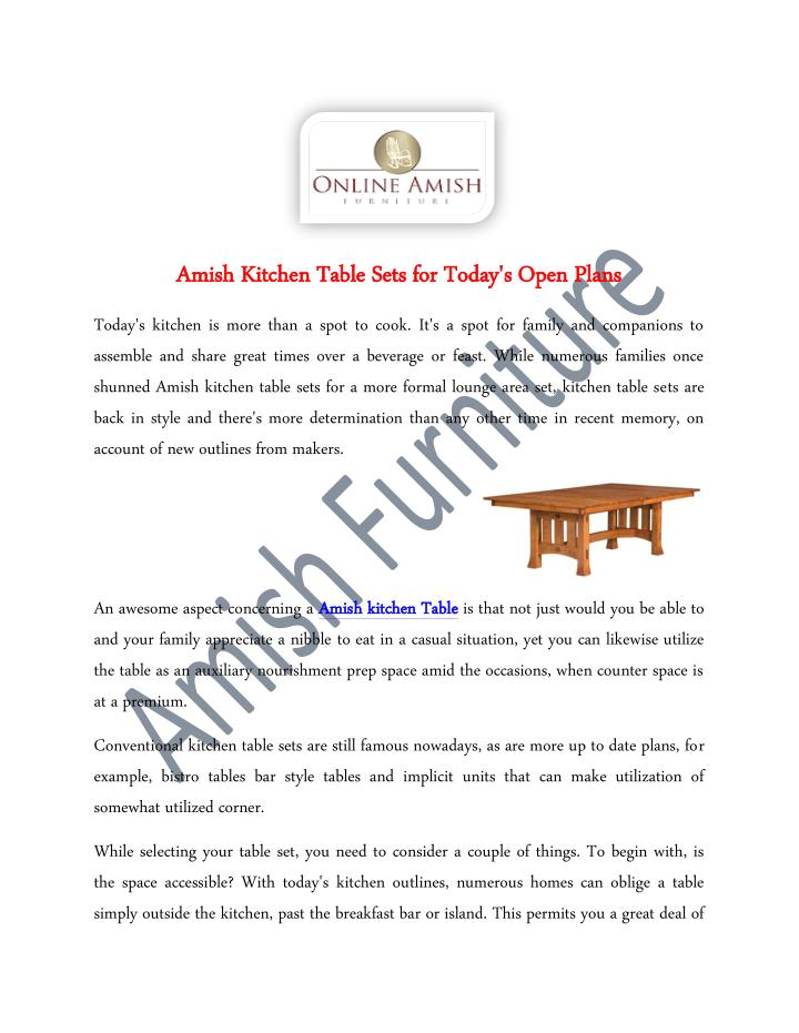 Amish Kitchen Table Sets for Today's Open Plans