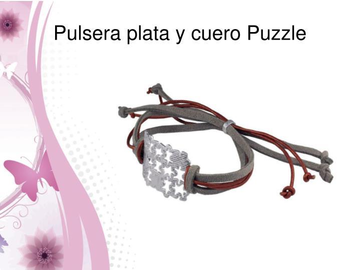Pulsera plata y cuero Puzzle