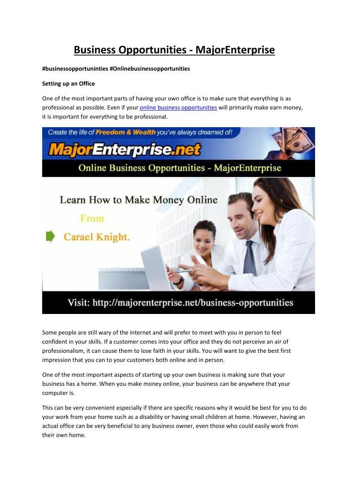 Business Opportunities - MajorEnterprise