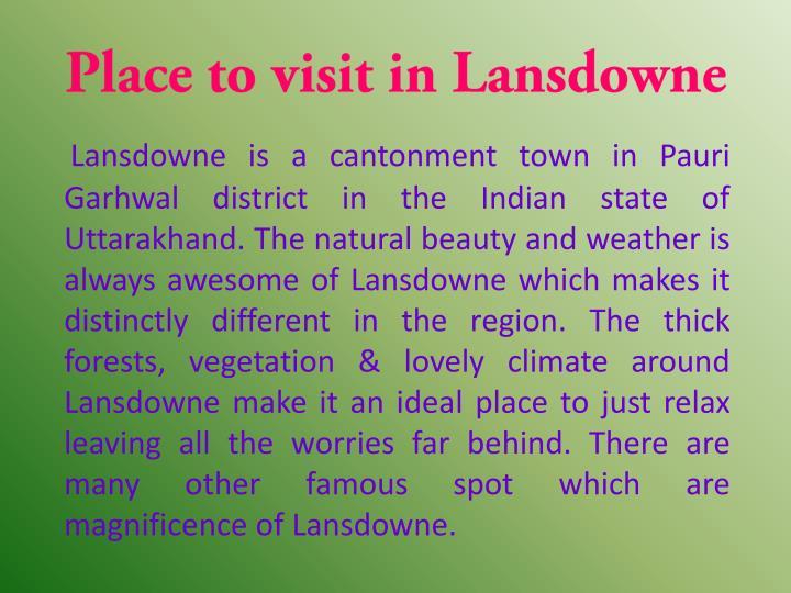 Place to visit in Lansdowne