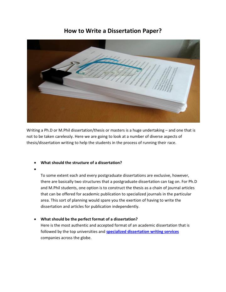 How To Write A Dissertation Journal