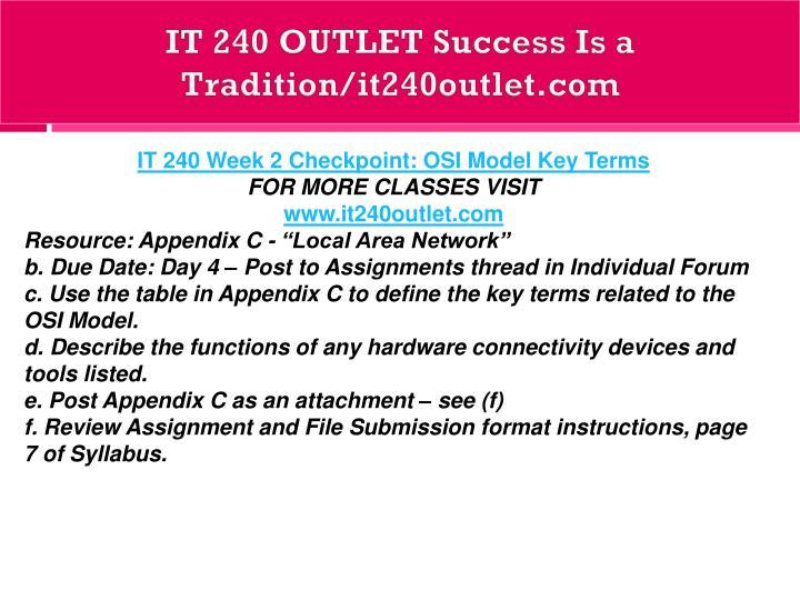 IT 240 OUTLET Success Is a Tradition/it240outlet.com