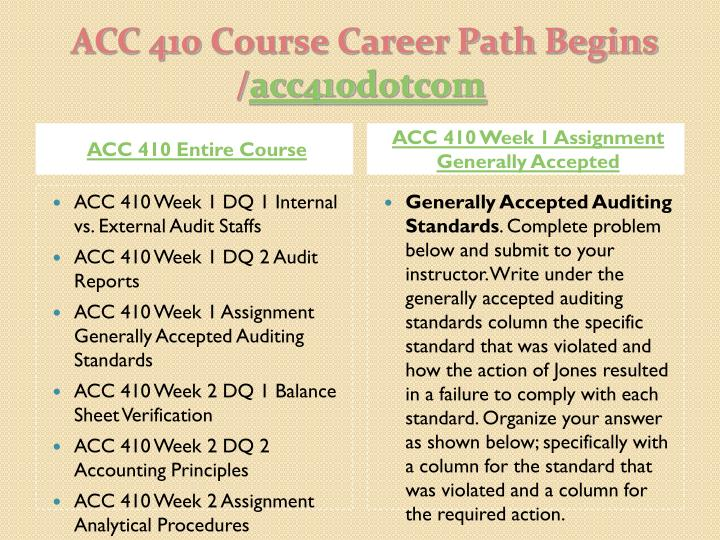Acc 410 course career path begins acc410 dotcom1