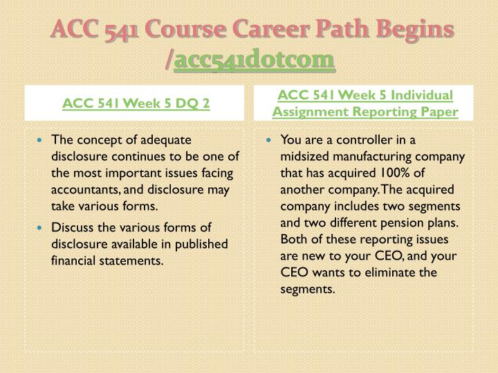 acc 541 reporting paper Acc 541 week 5 individual assignment reporting paper acc 541 week 5 dq1 acc 541 week 5 dq2 acc 541 week 6 learning team assignment auditing a publicly traded company .