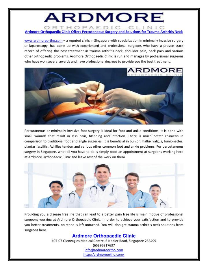 Ardmore Orthopaedic Clinic Offers Percutaneous Surgery and Solutions for Trauma Arthritis Neck