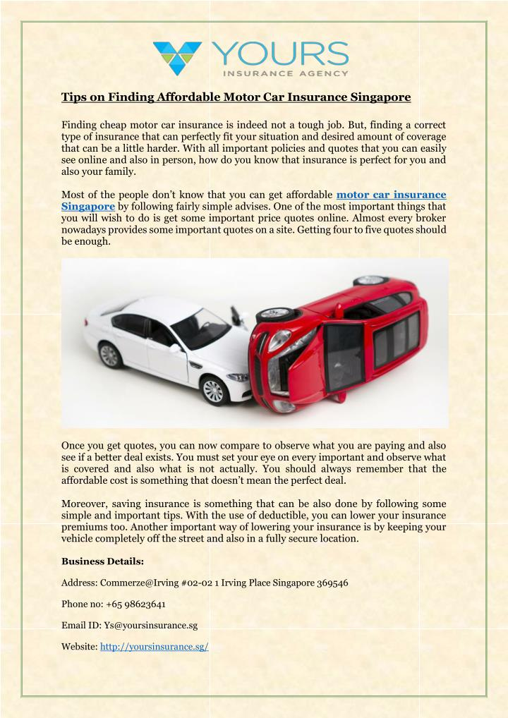 Ppt Tips On Finding Affordable Motor Car Insurance