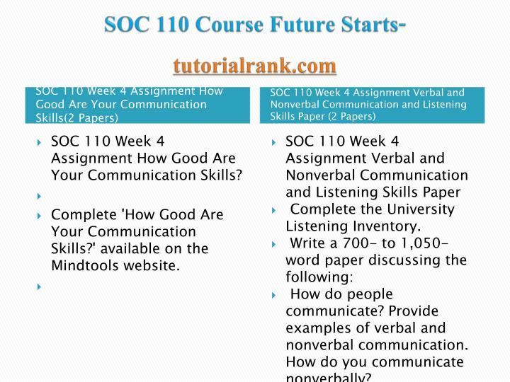 soc 110 wk4 individual communication paper This tutorial contains 2 papers soc 110 week 4 assignment verbal and nonverbal communication and listening skills paper complete the university listening inventory.